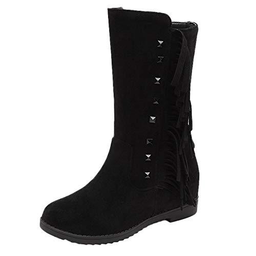 d7fd0532b Aumento Con Negro Toe Planos Martin De Mujer Botas Logobeing Flat Round  Borla Tube Zapatos Nieve ...