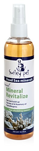 Natural Dead Sea Mineral Revitalize, Helps new healthy coat hair growth after periods of excessive scratching and shedding pets skin. Contains Dead Sea grooming Minerals and plant extracts. 8.45 oz by Smiley Pet