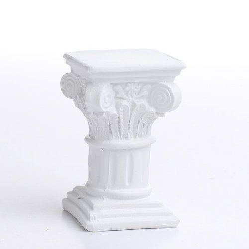 Set of 4 Durable Polystone White Miniature Pedestals for Fairy Gardens, Dollhouses, and ()