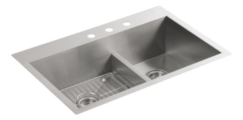 Kohler K-3839-3-NA Vault Smart Divide Offset Sink, Stainless Steel - Smart Divide Undercounter Kitchen Sink