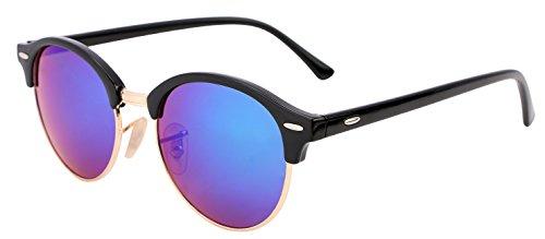 FEISEDY Classic Semi-rimless Round Frame Plastic Lens Sunglasses for Men Women - Sunglasses Purple Round