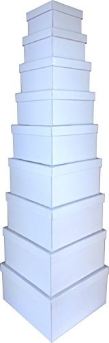 Cypress Lane Square Rigid Gift Box, 11 inches, a Nested Set of 9 (White)