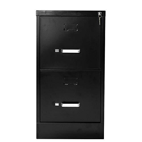 "(File Cabinet Vertical Metal 2 Drawer with Lock Letter-Size 26.5"" Deep(Black))"