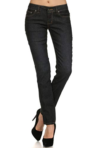 - Women's Dark Wash Boot Cut Rhinestone Fleur De Lis Zipper Denim Jeans (15) Black