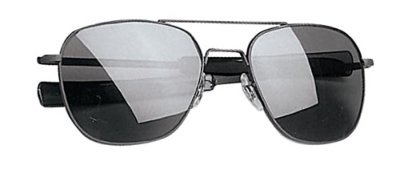 G.I. TYPE PILOT'S AVIATOR SUNGLASSES, Chrome/Smoke, 52mm