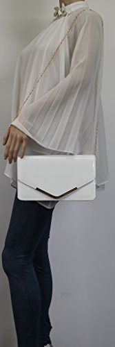 Bag Clutch Prom SwankySwans Envelope Patent Paris Evening Party Bridal White Style qwxO8ngH0