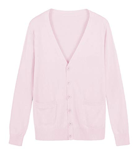 ROLECOS Girls Japanese Knit Cardigan Candy Color School Uniform Sweater Cosplay Costume Light Pink M -