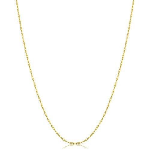 (Solid 14k Yellow Gold Thin Delicate Rope Chain Necklace (0.7mm, 14 inch short))