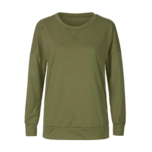 Vrac Tops Pull Bringbring Casual T Automne Longues en Manches Femme Sweat Vert Tunique Shirt xqB07wUpvY