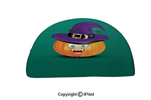 Semi Circle Super Soft Bath Room Micro Fiber Bath Rug,32x20 inch,Cute happy smiling pumpkin head witch purple hat and scary funny decor of spider on cobweb on dark green background Halloween icon or o ()
