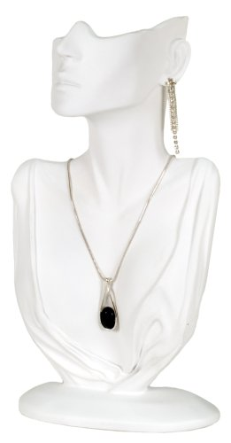 KC Store Fixtures 49153 Jewelry Display, Bust with Partial Face for Necklace and Earrings, White, 12 1/4 Inches High