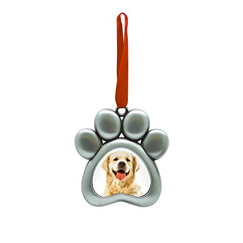 Dog Holiday Ornaments - Pearhead Pawprint Metal Holiday Photo Frame Ornament