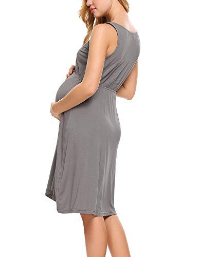 S U Abito Grigio Cottone Maniche Scollo di HOTOUCH XXL da a Abito Senza a Donna Elegante Gravidanza Maternità Z5STvqFw