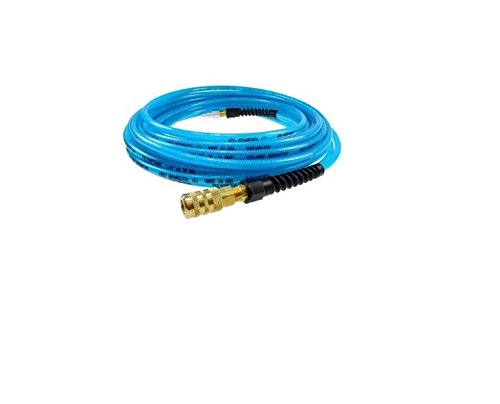 Coilhose Pneumatics PFE5050TS15X Flexeel Reinforced Polyurethane Air Hose, 5/16'' ID, 50' Length with 1/4'' Industrial Coupler & Connector, Transparent Blue, Polyurethane