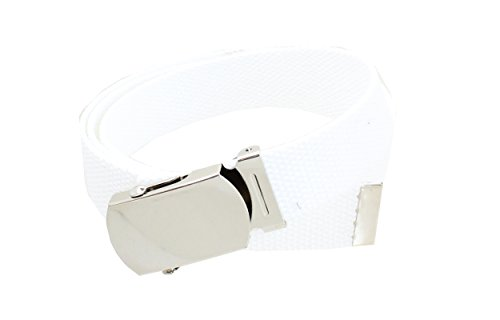 Shiny Chrome Tip - Kids Canvas Web Belt Chrome Silver Buckle/Tip Solid Color - White
