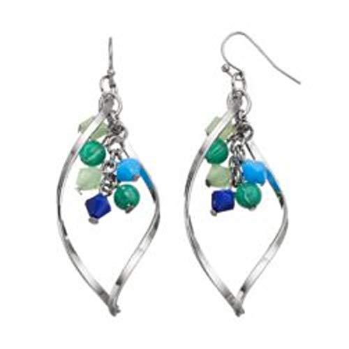 Apt 9 Beaded Teardrop Dangle Earrings ~ Silver/Blue MSRP $16