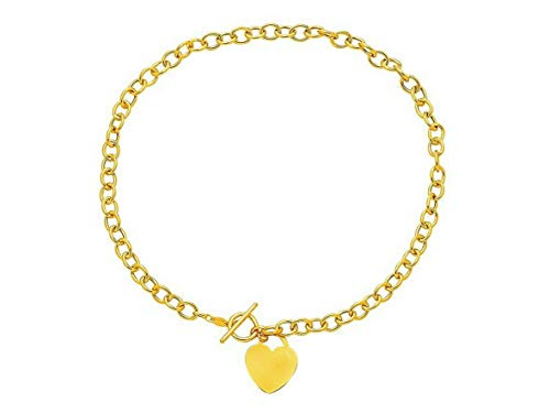 Hemau Heart Tag Oval Charm Chain Necklace w/Toggle Clasp Real 14K Yellow Gold 14gr | Model NCKLCS - 2038 | 17 ()
