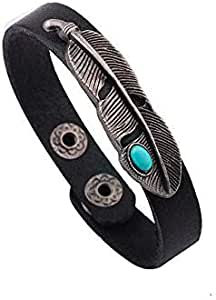 Turquoise feather leather men Bracelet mb17
