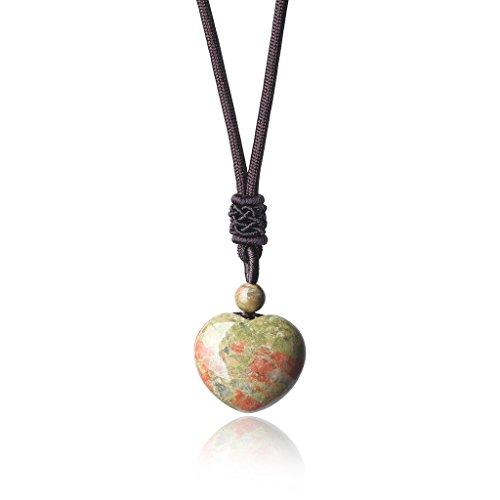 (AmorWing Semi Precious Stones Love Heart Shape Genuine Unakite Stones Pendant Necklace)