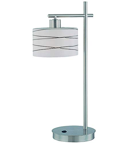 (Lite Source LS-21513 Lenza Table Lamp, Polished Steel with Frost Glass Shade with Glazed Black)