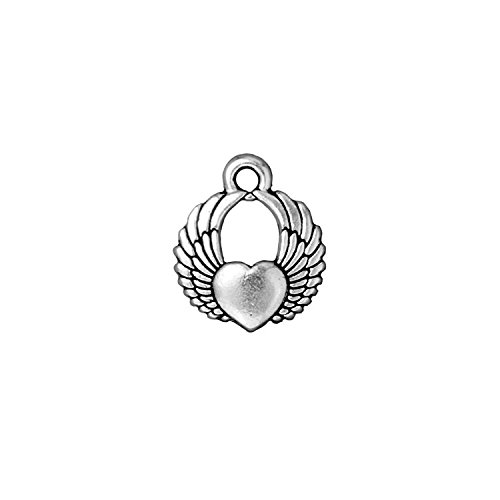 TierraCast Winged Heart, 18mm, Antique Fine Silver Plated Pewter,4-Pack