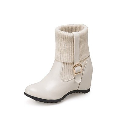 RTRY Zapatos De Mujer Moda Invierno Botas De Piel Sintética Slouch Botas Botas Talón De Cuña Redonda Mid-Calf Toe Boots Por Parte Casual &Amp; Noche Almond US10.5 / EU42 / UK8.5 / CN43