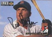 Rich Becker Minnesota Twins 1993 UD Collectors Choice Rookie Class Autographed Card - Rookie Card. This item comes with a certificate of authenticity from Autograph-Sports. Autographed