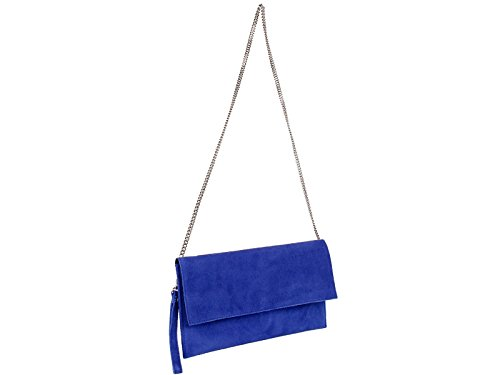 scarlet bijoux - Cartera de mano de Ante para mujer one size Azul - azul