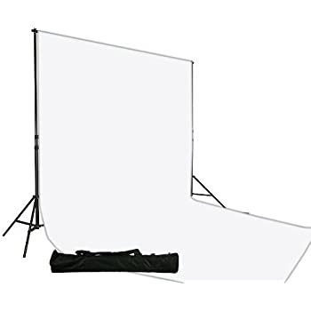 fancierstudio Muslin Backdrop Support System Kit, 10 x 20 White Muslin Backdrop Background Stand Kit-White