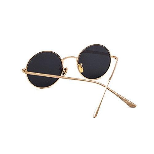 círculo Inlefen de de sol Gafas vintage marco Gris sol mujer para de de de Dorado Gafas redondo hombre metal y 7q47gf