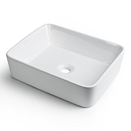 GotHobby Rectangle Ceramic Bathroom Vessel Sink Basin Faucet