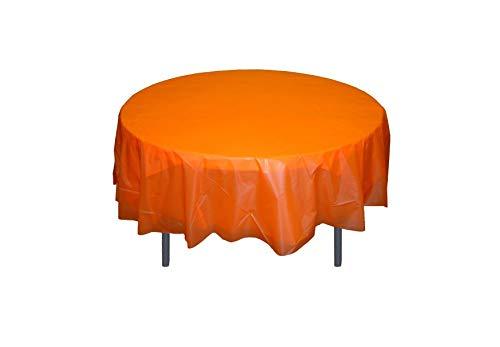 (6-Pack Premium Plastic Tablecloth 84in. Round Plastic Table cover - Orange)