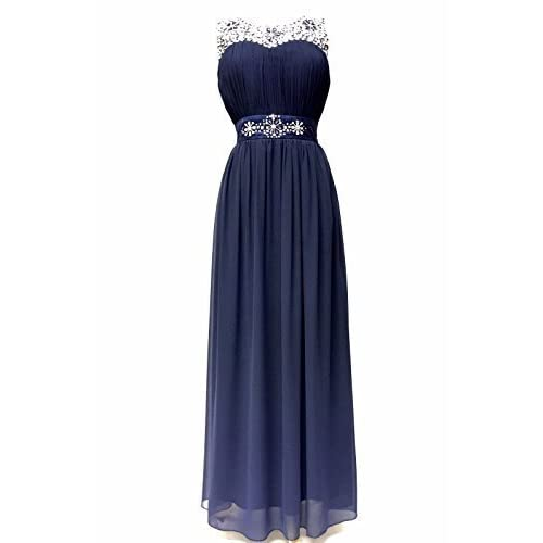 Womens Maxi Dress Gem Sequin Embellished Diamante Party Prom Draped Gown