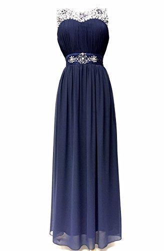 Mujer Vestido Largo Gema Con Lentejuelas Pedrería Fiesta Graduación Drapeado Traje - Azul, 22 UK