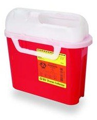 - 5.4 qt Side Entry Sharps Collectors - Red - 20 Each / Case