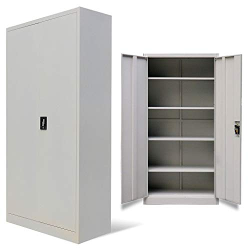 Lockable Cupboard - Metal Office Storage Filing Cabinet 2 Door Lockable Cupboard 5 Shelves Furniture