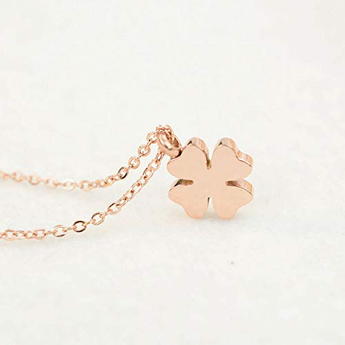 - FidgetGear 18K GP Rose Gold Plated Polished Frosted Cute Pendant Necklace Gifts Lucky Leaf Flowers