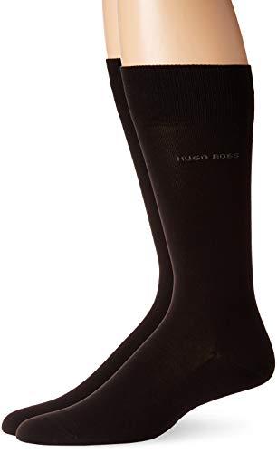(HUGO BOSS Men's 2-Pack Regular Fit Cotton Dress Socks, Black, 7-13)