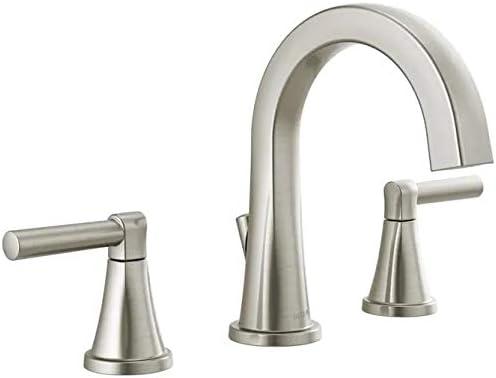 Delta Becker 35891LF-SP SpotShield Brushed Nickel 2-Handle Widespread WaterSense Bathroom Sink Faucet with Drain