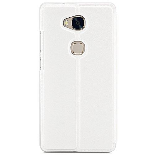 Funda Huawei GX8 (G8) RIO-L01 / RIO-L11 Cover Flip Wallet [Zanasta Designs] Case Cubierta de la ventana de la alta calidad, protección de la cámara | Oro Blanco