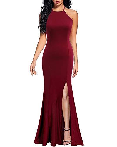 Lyrur Women's Sexy Sheath Halter Long Party Prom Gown High Split Burgundy Mermaid Evening Dress(S, 9071-Burgundy)