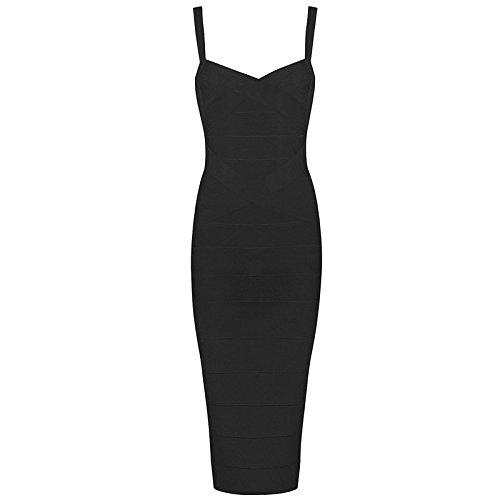 Whoinshop Women's Rayon Strap Celebrity Midi Evening Party Bandage Dress (L, Black) (Black Bandage Dress)