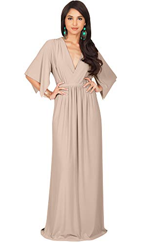 KOH KOH Womens Long Kaftan Caftan Short Sleeve Empire Waist Flowy V-Neck Summer Bridesmaid Evening Sexy Cute Modest Maternity Gown Gowns Maxi Dress Dresses, Nude Champagne Brown M 8-10