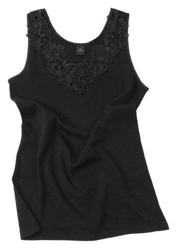 VCA Damen Shirt, Unterhemd mit extra großer Spitze, Trägershirt ohne Seitennaht - Cottonprime Schwarz
