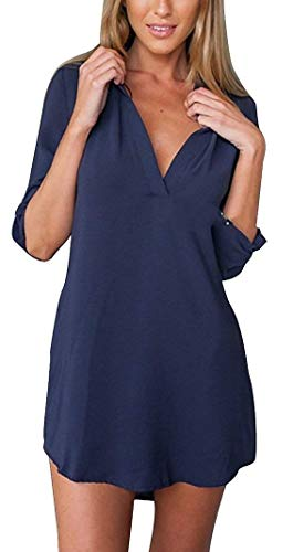 Loisir Longue Manches Navy Manche Shirts Spcial Chemise Avant Haut Poches Button Jeune lgant V Chemise Style Cou Printemps Irrgulier Femme Confortable Uni Mode Longues Mode xHdTdqXwS