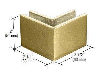 CRL Polished Brass 2-1/2 in x 2 in 90 Degree Outside Square Mall Front Clamp by C.R. Laurence