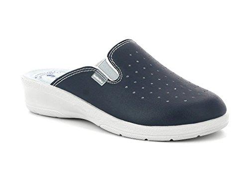 Sabout Anatomico Sanitarie Elastico Ciabatte Pelle Blu Inblu Donna Pantofole Comfort 4S8nwqXx