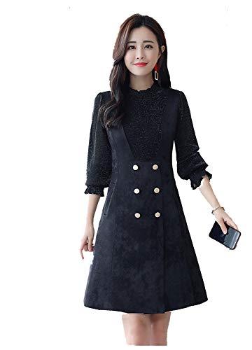 Venado Fondo Invierno Terciopelo Negro Vestido Engrosamiento Piel En Piezas Sbl De E Dos Costura Otoño Sección Falso Larga Y 8Iq77RnH