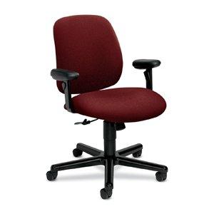 HON 7754AB62T 24-Hour Task Series Swivel and Tilt Chair with Adjustable Arms, Burgundy Olefin ()