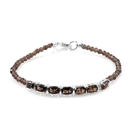 925 Sterling Silver Platinum Plated Gemstone Beads Smoky Quartz Line Tennis Bracelet for Women Gift Jewelry 7.25